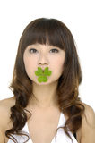 Woman holding a growing plant Stock Photos