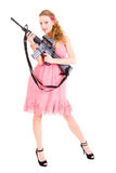 Woman holding a gun Royalty Free Stock Images