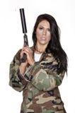 Woman holding gun Stock Photos