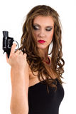 Woman holding a gun Stock Photos