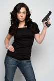 Woman Holding Gun Stock Photo