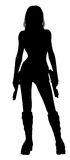 Woman Holding Guns Silhouette Stock Image