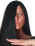 Woman holding hair Royalty Free Stock Photos