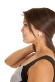 Woman holding hair star earrings Stock Photography