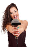 Woman holding hairdryer Stock Images