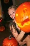 Woman Holding Halloween Lantern Stock Images