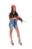 Woman holding hammer drill 1 Stock Image