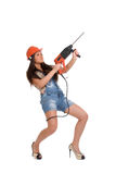 Woman holding hammer drill Royalty Free Stock Photos