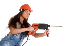 Woman holding hammer drill Royalty Free Stock Photography