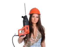 Woman holding hammer drill Stock Image
