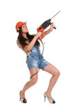 Woman holding hammer drill 2 Royalty Free Stock Photography
