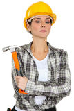 Woman holding hammer Stock Photography