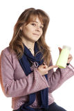Woman holding in hand blank bottle shampoo Royalty Free Stock Photo