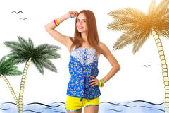 Woman holding hand on her head. Young smiling woman in blue T-shirt and yellow shorts holding hand on her head on white background in studio Royalty Free Stock Image