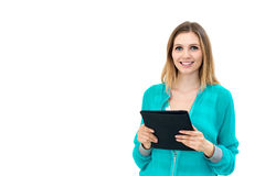 Woman holding in hand a tablet touch pad Royalty Free Stock Photo