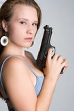 Woman Holding Handgun Royalty Free Stock Photos