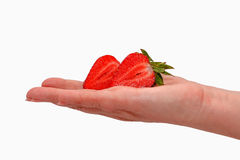Woman holding in hands ripe fresh strawberries isolated on white Stock Photography