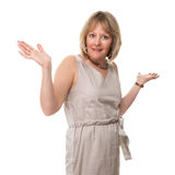 Woman Holding Hands Up in Surprise Stock Images
