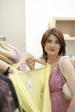 Woman Holding Hanger Royalty Free Stock Photos