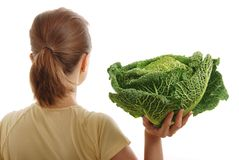 Woman holding healthy savoy cabbage Stock Photography