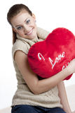 Woman holding a heart Stock Photography