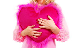 Woman holding heart Stock Images