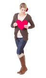 Woman holding heart Royalty Free Stock Image