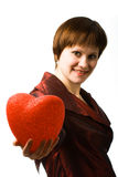Woman holding heart royalty free stock images