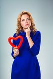 Woman holding heart Royalty Free Stock Photography