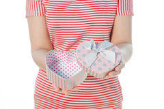 Woman Holding heart gift on isolate on white background Stock Image