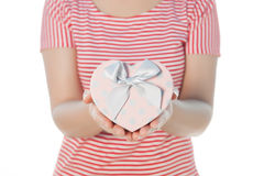 Woman Holding heart gift ox isolate on white background Royalty Free Stock Photography
