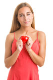 Woman Holding a Heart in Her Hands Royalty Free Stock Images