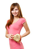 Woman holding heart shape box Stock Image