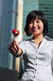 Woman Holding A Heart Shape Stick Stock Image