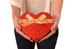 Woman holding Heart Shaped Box Present Royalty Free Stock Photo