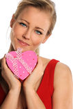 Woman Holding Heart shaped Gift Box Royalty Free Stock Photography