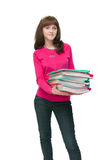 Woman holding heavy files on white Stock Photography