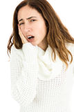 Woman holding her aching tooth Stock Photos