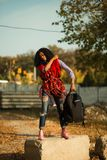 Woman Holding Her Backpack royalty free stock photo