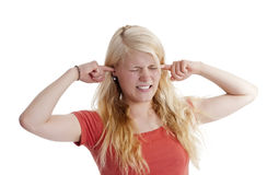 Woman holding her ears Royalty Free Stock Photography