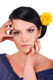 Woman holding her face with natural makeup Royalty Free Stock Photography