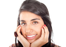 Woman holding her face and smiling Royalty Free Stock Image