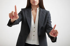 Woman holding her fingers Royalty Free Stock Photography