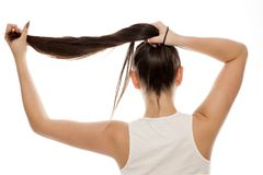 Woman holding her hair. Back view of a young woman holding her hair with her hand Stock Image