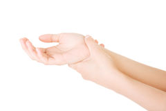 Woman holding her hand - pain concept Royalty Free Stock Photo