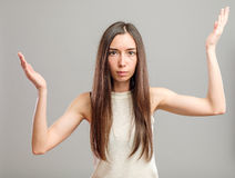 Woman holding her hands out Stock Photos