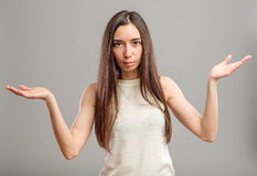 Woman holding her hands out Royalty Free Stock Images