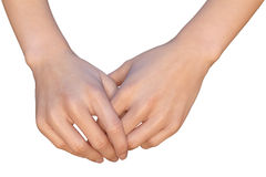 Woman is holding her hands together Royalty Free Stock Photo