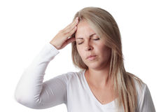Woman holding her head isolated on white background. headache. Stock Image