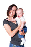 Woman holding her little adorable son Stock Photos